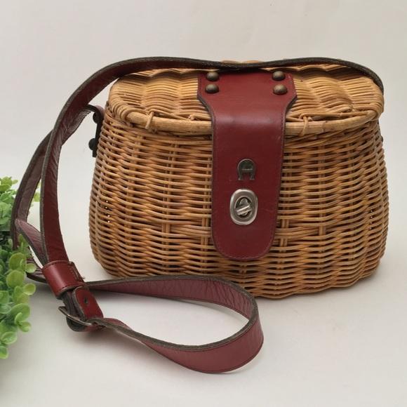 1fcff2c12c0712 Etienne Aigner Handbags - Vintage Wicker Leather Basket Creel Handbag Purse